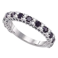 1.05 CTW Black Color Diamond Wedding Ring 10KT White Gold - REF-26M9H