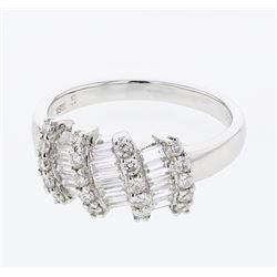 0.85 CTW Diamond Ring 18K White Gold - REF-93M2F