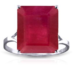 Genuine 7.5 ctw Ruby Ring Jewelry 14KT White Gold - REF-87A2K
