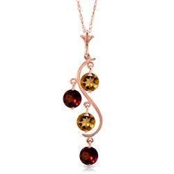 Genuine 2.3 ctw Citrine & Garnet Necklace Jewelry 14KT Rose Gold - REF-30Z2N