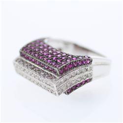 3.58 CTW Ruby & Diamond Ring 14K White Gold - REF-101Y8X