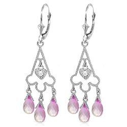 Genuine 4.83 ctw Pink Topaz & Diamond Earrings Jewelry 14KT White Gold - REF-52W7Y
