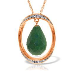 Genuine 13.6 ctw Sapphire & Diamond Necklace Jewelry 14KT Rose Gold - REF-122K9V