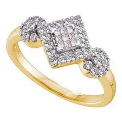0.48 CTW Princess Diamond Diagonal Square Cluster Ring 14KT Yellow Gold - REF-52N4F