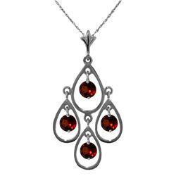 Genuine 1.20 ctw Garnet Necklace Jewelry 14KT White Gold - REF-30P7H