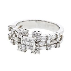 1.38 CTW Diamond Ring 14K White Gold - REF-131H2M