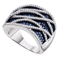 1.34 CTW Blue Color Diamond Fashion Ring 10KT White Gold - REF-87Y2X