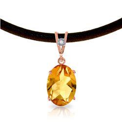 Genuine 7.56 ctw Citrine & Diamond Necklace Jewelry 14KT Rose Gold - REF-35V5W