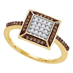0.25 CTW Cognac-brown Color Diamond Square Cluster Ring 10KT Yellow Gold - REF-18K2W