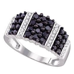 0.95 CTW Black Color Diamond Ring 10KT White Gold - REF-44F9N