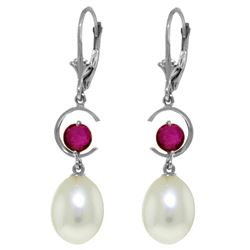 Genuine 9 ctw Pearl & Ruby Earrings Jewelry 14KT White Gold - REF-39Z4N