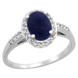 Natural 1.13 ctw Lapis & Diamond Engagement Ring 14K White Gold - REF-30W9K