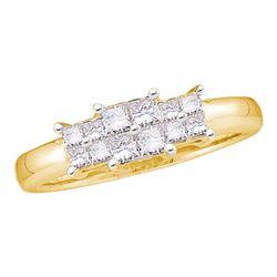 0.50 CTW Princess Diamond 3-stone Bridal Engagement Ring 14KT Yellow Gold - REF-49M5H