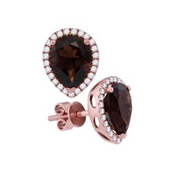 3.42 CTW Pear Smoky Quartz Solitaire Stud Earrings 14KT Rose Gold - REF-67Y4X