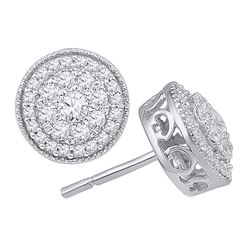 0.50 CTW Diamond Flower Cluster Earrings 10KT White Gold - REF-49Y5X