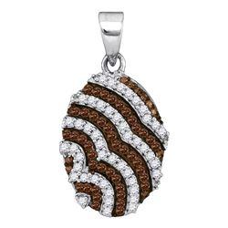 0.33 CTW Cognac-brown Color Diamond Oval Pendant 10KT White Gold - REF-19X4Y