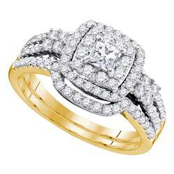 1 CTW Princess Diamond Halo Bridal Engagement Ring 14k Yellow Gold - REF-124M4H