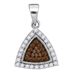 0.30 CTW Cognac-brown Color Diamond Triangle Cluster Pendant 10KT White Gold - REF-14F9N
