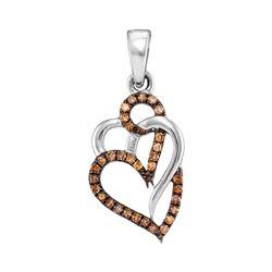 0.25 CTW Cognac-brown Color Diamond Triple Heart Pendant 10KT White Gold - REF-14X9Y