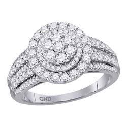 1 CTW Diamond Circle Cluster Bridal Wedding Engagement Ring 14KT White Gold - REF-119N9F