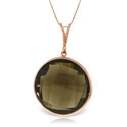 Genuine 17 ctw Smoky Quartz Necklace Jewelry 14KT Rose Gold - REF-39M4T