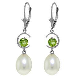 Genuine 9 ctw Pearl & Peridot Earrings Jewelry 14KT White Gold - REF-36M3T