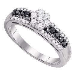 0.45 CTW Black Color Diamond Cluster Ring 10KT White Gold - REF-34M4H