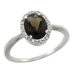 Natural 1.22 ctw Smoky-topaz & Diamond Engagement Ring 10K White Gold - REF-20R3Z