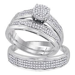 0.50 CTW His & Hers Diamond Cluster Matching Bridal Ring 10KT White Gold - REF-57F2N