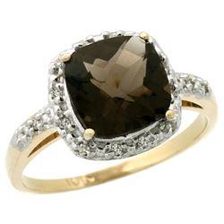 Natural 3.92 ctw Smoky-topaz & Diamond Engagement Ring 14K Yellow Gold - REF-35G2M
