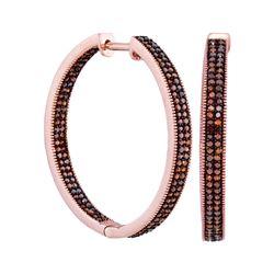 1 CTW Red Color Diamond Hoop Earrings 10KT Rose Gold - REF-75Y2X