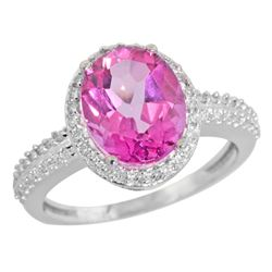 Natural 2.56 ctw Pink-topaz & Diamond Engagement Ring 10K White Gold - REF-32K7R
