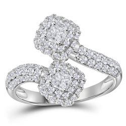 1 CTW Princess Diamond 2-stone Bypass Bridal Engagement Ring 14KT White Gold - REF-112K5W