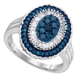 0.75 CTW Blue Color Diamond Oval Cluster Ring 10KT White Gold - REF-40X4Y