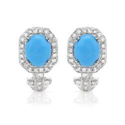 4.56 CTW Turquoise & Diamond Earrings 14K White Gold - REF-79R3K