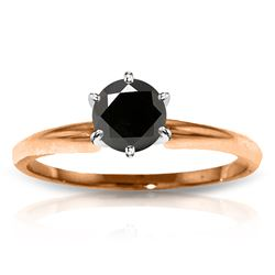 Genuine 1.0 ctw Black Diamond Ring Jewelry 14KT Rose Gold - REF-81P2H