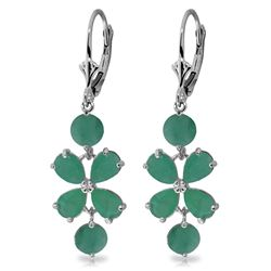 Genuine 5.32 ctw Emerald Earrings Jewelry 14KT White Gold - REF-70N4R