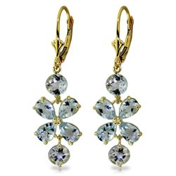 Genuine 5.32 ctw Aquamarine Earrings Jewelry 14KT Yellow Gold - REF-64A9K