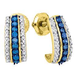0.33 CTW Blue Color Diamond Half J Hoop Earrings 10KT Yellow Gold - REF-26K9W