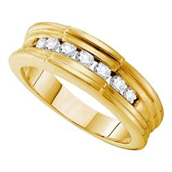 0.50 CTW Mens Channel-set Diamond Ridged Edges Wedding Ring 14KT Yellow Gold - REF-71N8F