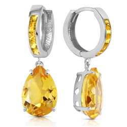 Genuine 13.2 ctw Citrine Earrings Jewelry 14KT White Gold - REF-68M7T