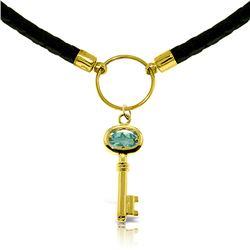 Genuine 0.50 ctw Blue Topaz Necklace Jewelry 14KT Rose Gold - REF-65V8W