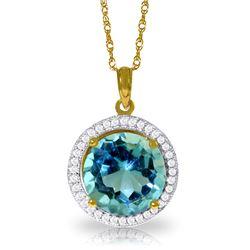 Genuine 8 ctw Blue Topaz & Diamond Necklace Jewelry 14KT Yellow Gold - REF-72P2H