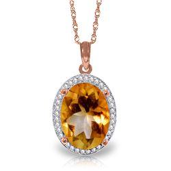 Genuine 4.88 ctw Citrine & Diamond Necklace Jewelry 14KT Rose Gold - REF-70A2K