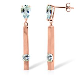Genuine 4.25 ctw Aquamarine Earrings Jewelry 14KT Rose Gold - REF-66V6W