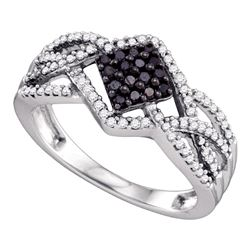 0.35 CTW Black Color Diamond Square Cluster Ring 10KT White Gold - REF-34X4Y