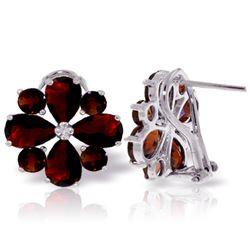 Genuine 4.85 ctw Garnet Earrings Jewelry 14KT White Gold - REF-58F4Z
