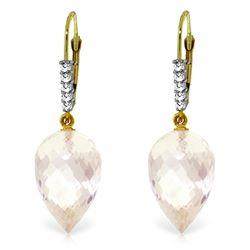 Genuine 24.65 ctw White Topaz & Diamond Earrings Jewelry 14KT Yellow Gold - REF-61Y2F