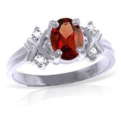 Genuine 0.97 ctw Garnet & Diamond Ring Jewelry 14KT White Gold - REF-59K2V