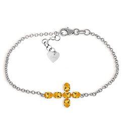 Genuine 1.70 ctw Citrine Bracelet Jewelry 14KT White Gold - REF-59X8M